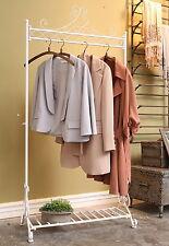 6FT White Clothes Garment Rail Metal Vintage Hanging Rail Coat Stand Shoes Shelf