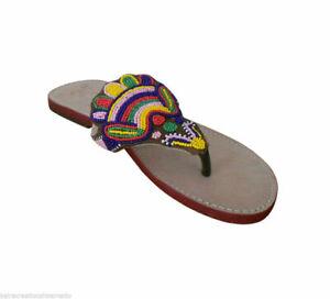 Indian Women Slippers Handmade Leather Flip-Flops Flat Beaded Slip-Ons US 6-9