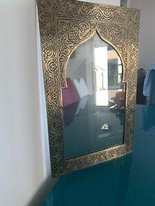 Marokkanischer Orientalischer Messing Silberner Spiegel Handarbeit -Kasim- H42