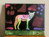 """California Coyote Hand Painted Artwork Acrylic Canvas 8X10""""inches"""