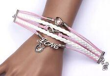 Armband Armkette silber Freundschaft Herze Perle Love Liebe unendlich rosa weiß