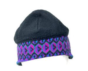 VTG Turtle Fur Black Purple 90s Geometric Fair Isle Ski Beanie Hat USA Made