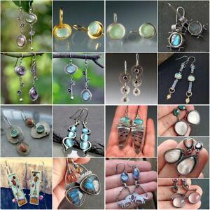 Fashion 925 Silver Dangle Drop Earrings Ear Hook Moonstone Women Jewelry Gift