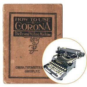 1914-1922 CORONA No.3 INSTRUCTION MANUAL Vtg Antique Folding Repro Single Shift