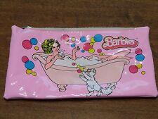 Vintage Barbie 1983 Zippered Pencil Case/Bag Pink Barbie in Clawed Bathtub RARE