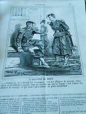 Caricature 1863 - Question de Droit Affaires de ménages Cosaques et Polonais