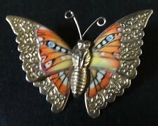 vintage multi colour orange enamel butterfly bug gold tone brooch -R383
