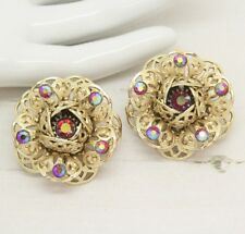 Large Vintage Mid Century Sarah Coventry Cov Flower Clip On Earrings Jewellery
