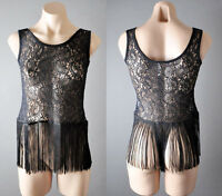 Black Womens Evening Lace Gypsy Hippie Indie Boho Fringe Tank Top Shirt S M L