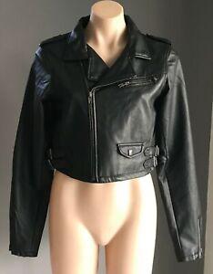 JAY JAYS Black PU Crop Moto/Biker Jacket Size 12