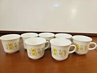 Vintage Corning Corelle April Yellow Flowers * Set Of 7 * Coffee Tea Cups Mugs