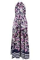 Ignite Evenings 199$ Halter Neckline Embellished Waist Floral A-Line Dress 12