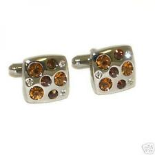 Square AMBER Diamante CUFFLINKS Crystal Formal Dress Christmas Present GIFT Box