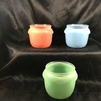 Set of 3 Vintage Glasbake Pastel Honey Whip Jars Blue Green Rose