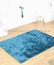 NEW LARGE THICK TEAL SOFT SHINY DEEP SHAGGY SPARKLE RUG