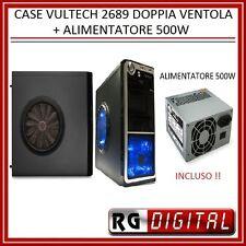 CABINET CASE PC ATX VULTECH 2689  2 USB AUDIO DOPPIA VENTOLA + ALIMENTATORE 500W