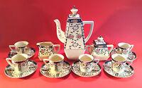 Hand Painted Yellow Boho Tea Set - Teapot Sugar Creamer - 6 Cups Saucers - Japan