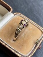 Georgian Antique Pearl And Ruby Swirl Yellow Gold Ring Band