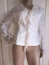 New with Tags Anne Carson White Long Sleeve Ruffle Zip Up Blouse Size M