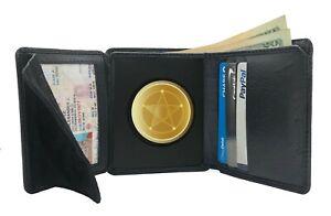 Concealed Carry Badge Holder CASE Wallet Genuine Leather Black Security Rround-