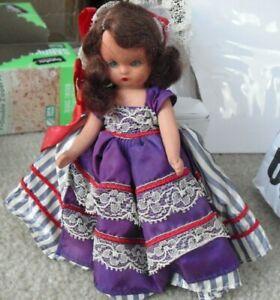 "Vintage Nancy Ann Storybook Hard Plastic Brown Hair Girl Doll 5 1/2"" Tall"