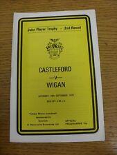 29/09/1979 Castleford V Wigan [John Player Trophy] Rugby Ufficiale del programma