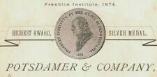 1876 World's Fair Centennial Printers Potsdamer & Co. Franklin Institute P153