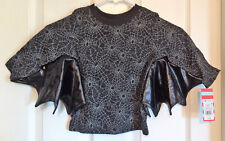 New Cat & Jack Black Gray Halloween L/S Shirt Top Bat Wings Spider Webs Size 18M