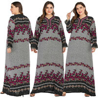 Ethnic Floral Print Abaya Women's Long Maxi Dress Kaftan Robe Jilbab Plus Size