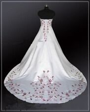 White&Red Embroidery Ball Gown Wedding Dresses Plus Size Bridal Gowns Hot Sale