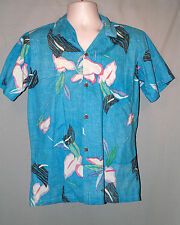 Andrade Vtg 70's Abstract Antherium  Blue 100% Cotton Hawaiian Shirt SZ M
