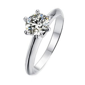 Details about  /1 CT Round Simulated Cut Moissanite Engagement Solitaire Stone Ring 925 Silver