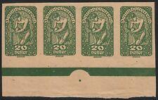 Österreich 1919 Posthorn,Wappen,Allegorie 20 Heller 4er-Streifen Andruckpapier