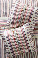 """NWT Anthropologie Woven Rosado Euro Sham Cotton Striped Tassel 26"""" ONE"""
