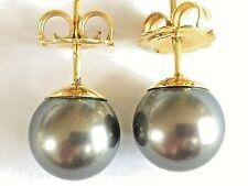 Tahitian South Sea Black Pearl Earrings 11.5mm 18ct gold rrp £1295