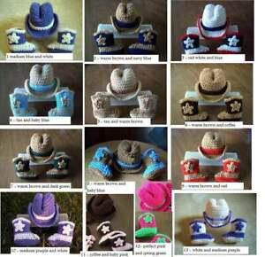 U CHOOSE COWBOY COWGIRL newborn baby HAT and BOOTS set crochet 0-3 mo PHOTO PROP