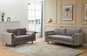 Grey Plush Velvet 3 & 2 Seater Sofa Set Suite Couches Settees Small - X-Display