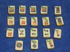 Vintage Mahjong lot of 18 Tiles dots suit pattern handmade bamboo bone Antique