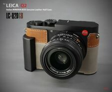 LIM'S Genuine Leather Camera Metal Grip Half Case for Leica Q2 Gray Brown