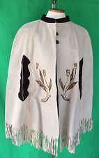 Vtg Handmade Leather Western Riding Wear Cape Suede Serape MEXICAN Pyrography