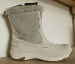 MERRELL WOMENS WATERPROOF BOOTS LADIES RYELAND TALL WHITE LEATHER UK 4.5 US 7