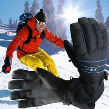 Men Ski Gloves Waterproof Full Finger Glove Large Cold Weather Winter Snow New!!