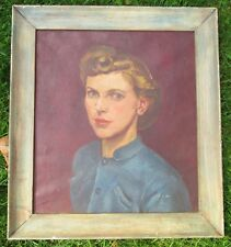 "Framed Oil Portrait of ""Gracie"" 1940s Classic Grace Kelly-like Beautiful Woman."