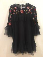 Women's Zara Black Floral Embroidered Ruffle Frill Pretty Dress Size M RRP $159!