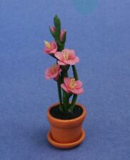 Miniature Dollhouse Pink Gladiolus Plants Flowers 1:12 Scale New
