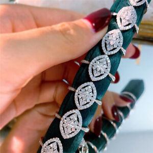 Women Luxury 925 Silver Rings White Sapphire Wedding Engagement Band Ring Sz 8