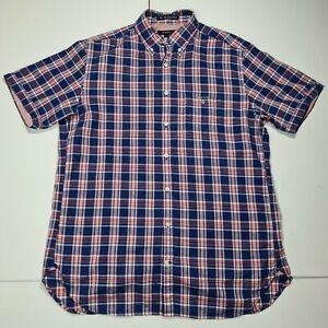 Gant Mens River Inn Cotton Linen Short Sleeve Red Blue Checked Shirt Large 16
