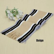 Men's New Classic Cashmere Winter Warm Fringe Stripe Tassel Knit Shawl Scarf