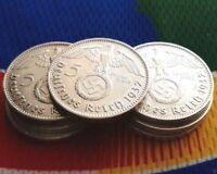 1937 A WW2  5 Mark German Silver Coin (1) Third Reich Swastika Reichsmark