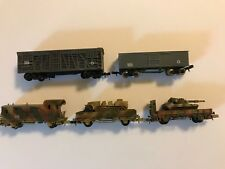 N SCALE WWII GERMAN 3 CAR SET, Locomotive & 2 flatbeds w/ vehicles & 2 box cars